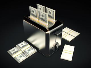 Business concept - $100 bills with toaster