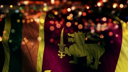 Sri Lanka Flag Light Night Bokeh Abstract Loop Animation