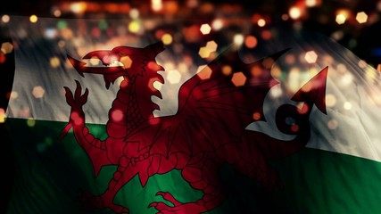 Wales Flag Light Night Bokeh Abstract Loop Animation