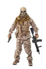 Unrecognizable criminal holding a rifle.