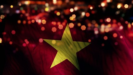 Vietnam Flag Light Night Bokeh Abstract Loop Animation