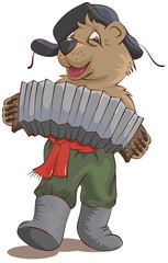Russian bear in a cap with earflaps plays the harmonica