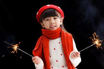 Happy little girl in Christmas