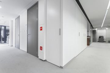 Corridor with grey doors