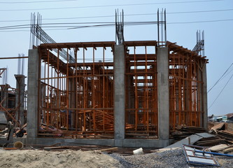 Construction site. The frame of a new house in  Myanmar