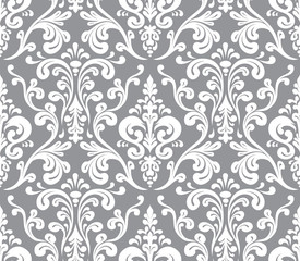 Vector. Seamless elegant damask pattern. Grey and white