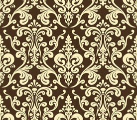 Vector. Seamless elegant damask pattern. Golden colors