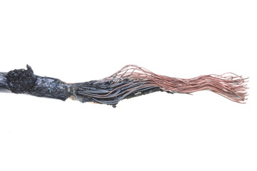Burnt electrical cable isolated on white background