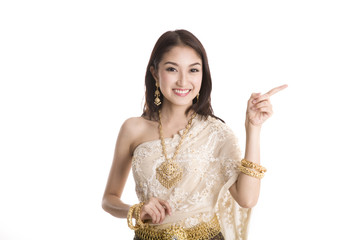 Woman wearing traditional Thai costume pointing her finger
