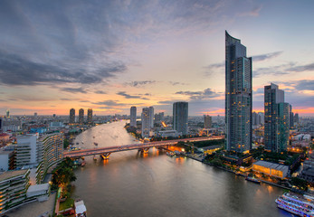 Bangkok City and the river,Hotel and resident area in Thailand