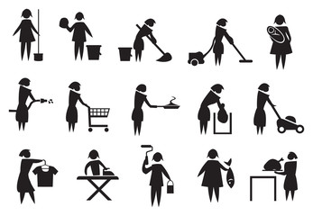 Housewife and Household Chores Icon Set