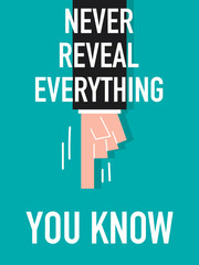 Word NEVER REVEAL EVERYTHING YOU KNOW