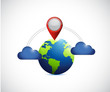 globe and cloud communication locator.
