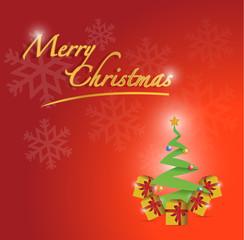 merry christmas tree card illustration