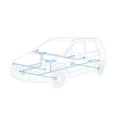 car line drawing and network, AI10 vector