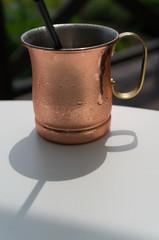 bronze coffee mug in a cafe. Taken in Biei, Japan