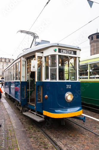 The green historic tram in Turin