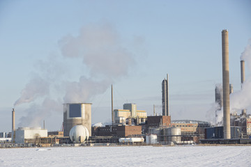 Chemical Industry Building in winter