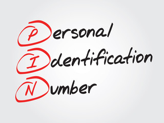 Personal Identification Number (PIN), vector business acronym