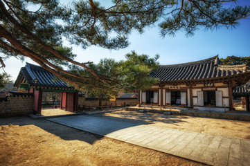 Ojukheon courtyard taken during winter. Gangneung, South Korea.