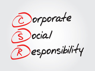 Corporate social responsibility (CSR), vector business acronym