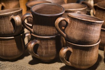 Cups, pots and other ceramic tableware in stock