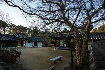 Yi Gwangno House courtyard taken during winter at sunset time.