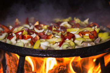 Food cooked traditionally on grill