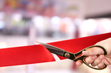 Grand opening, cutting red ribbon - 74413603