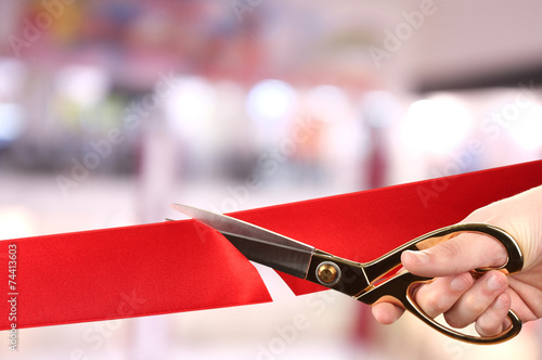 Leinwanddruck Bild Grand opening, cutting red ribbon