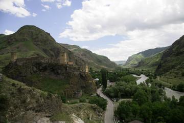 Khertvisi landscape castle nature river