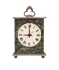 Mantel clock showing nine o'clock