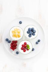 dietary product - assortment yogurt with fresh berries in glass