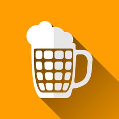 Beer Mug Icon, Long Shadows, Vector Illustration