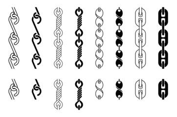 Metal Chain Parts Set, Vector Illustration