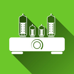 Tube Amplifier Icon, Long Shadows, Vector Illustration