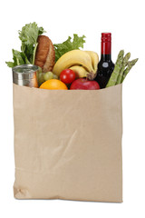 Brown Paper Grocery Bag,isolated on white/clipping path