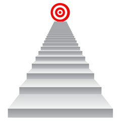 Conceptual red target on stair for success