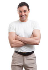 muscular man wearing a white T-shirt