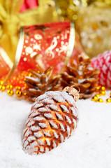 Christmas fir cones decorations