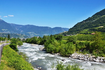 Italian Alps-bike trail in Merano and river Adige