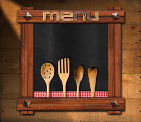 Empty Blackboard with Kitchen Utensils