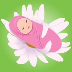 Vector illustration of sleeping babe in Daisy