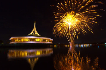 Fireworks on the black sky background at Suanluang RAMA IX  THAI