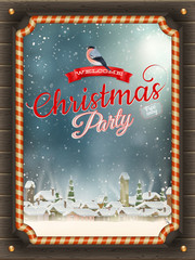 Christmas Poster with village. EPS 10
