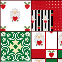Patchwork seamless pattern ornamental elements and sheep backgro