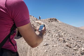 Navigation trekking hill