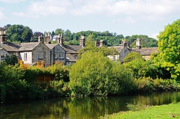 Cottages alongside the River Wye, Bakewell © Arena Photo UK