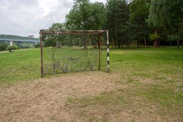 Football gateway near wild forest