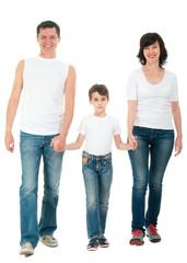 Smiling family walking isolated on white